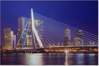 Poster Erasmusbrug Tijdens Blue Hour, Rotterdam, Nederland
