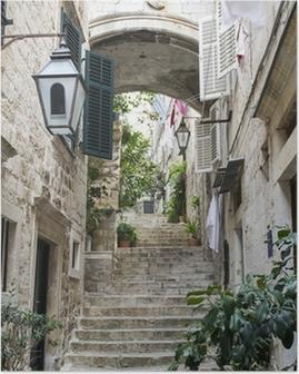 Póster Escaleras en la ciudad vieja de Dubrovnik
