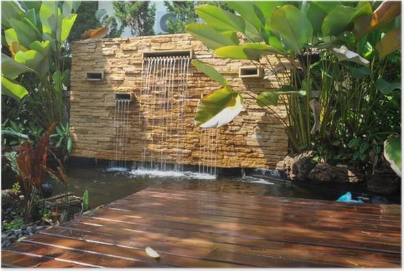 P ster estanque de piedra cascada decorativa jard n de for Estanque cascada