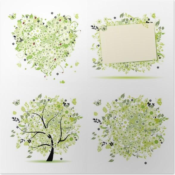 Póster Estilo de la primavera - árbol, marco, ramo, corazón para su ...