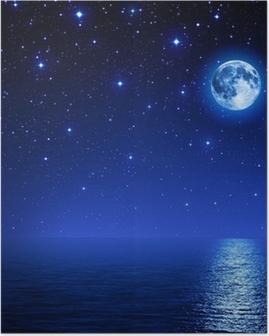 Póster Estupendo luna en el cielo estrellado en el mar