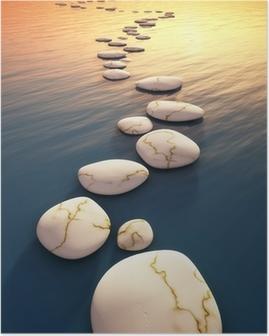 Poster Étape pierres coucher du soleil
