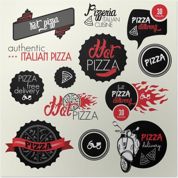 Póster Etiquetas de entrega de pizza y los iconos • Pixers ...
