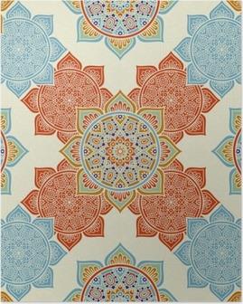 Poster Etnische bloemen naadloos patroon