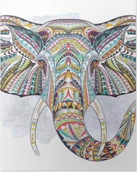 Poster Etnische patroon hoofd van olifant op de landhuisachtergrond / Afrikaanse / Indiase / totem / tattoo ontwerp. Gebruik voor print, posters, t-shirts.