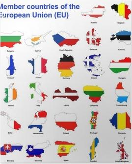 EU countries flag maps Poster