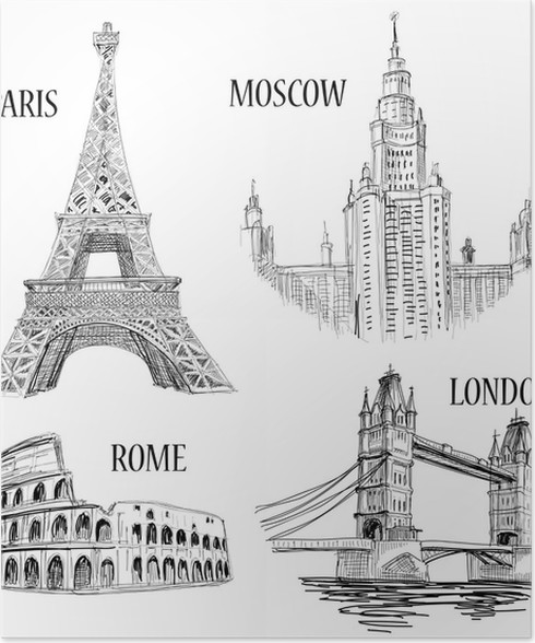 European cities sketched symbols poster