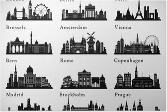 Poster Europese steden skylines in te stellen. vector silhouetten