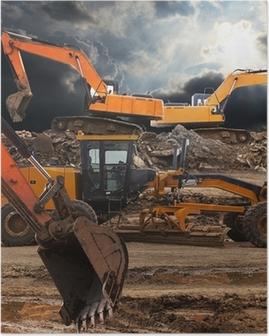 Excavator and grader Poster