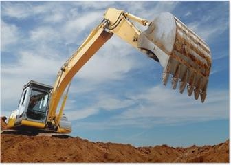 Excavator loader in sandpit Poster