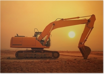 excavator loader machine during earthmoving works outdoors Poster