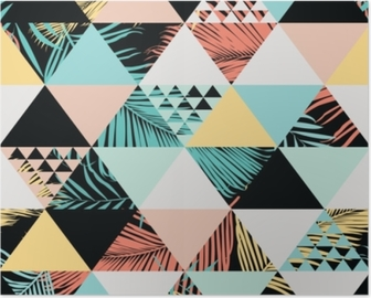 Poster Exotisk strand trendig sömlös mönster, illustrerad blommig vektor tropiska löv. bakgrundsbakgrundsbakgrund.
