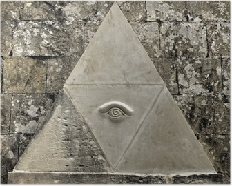 Eye of Providence symbol etched in limestone Poster
