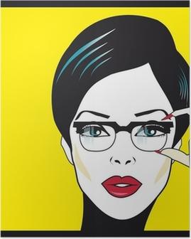 Poster Eyewear femme portrait de gros plan. Femme portant des lunettes ho