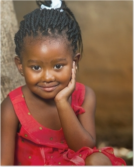 Face shot of cute african girl. Poster