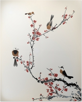 Poster Fåglar målning