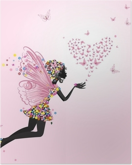 Fairy with a valentine of butterflies Poster
