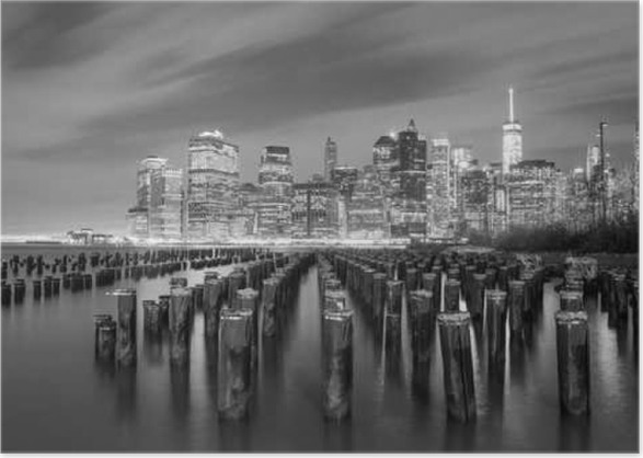 Famous Manhattan View At Night Black And White New York City Poster Travel
