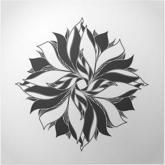 Poster Fantastique Fleur Noir Et Blanc Motif De Tatouage