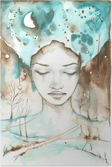 Poster Fantastische illustratie van een abstract portret van een meisje.