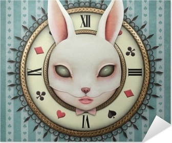 Fantasy illustration with a pocket watch Wonderland and head mask bunny girl Poster