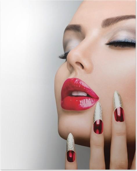 Fashion Beauty Model Girl Manicure And Make Up Nail Art Poster