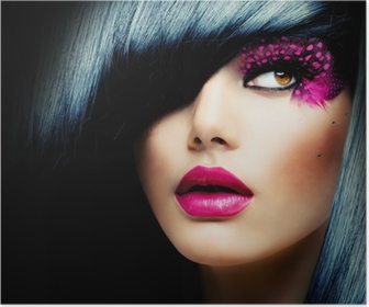 Poster Fashion Brunette ModelPortret. Kapsel