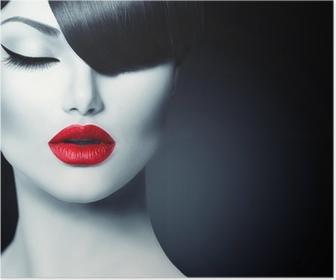 Poster Fashion Glamour Schoonheid Meisje Met Trendy Fringe Kapsel