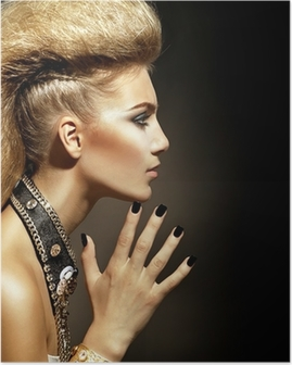 Fashion Rocker Style Model Girl Portrait. Hairstyle Poster