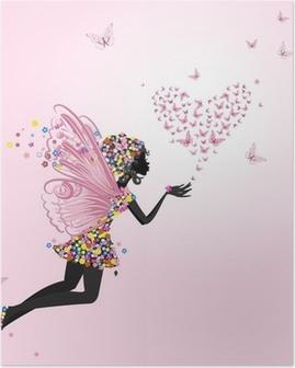 Poster Fée avec un valentine de papillons