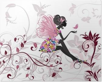 Poster Fée de fleur avec papillons