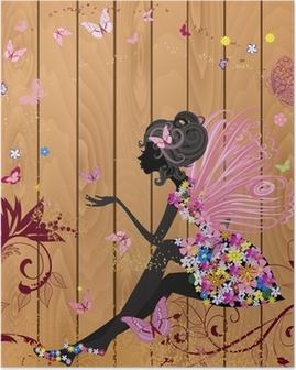 Poster Fée de fleur sur une texture de bois pour votre conception