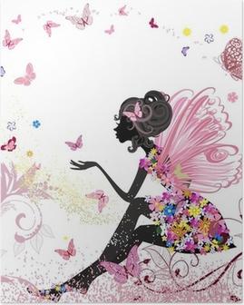 Poster Fée Fleur dans l'environnement de papillons