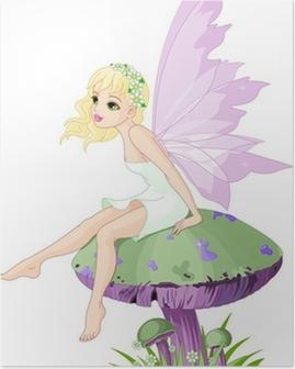 Poster Fée sur le champignon
