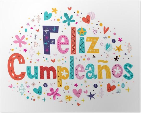 grattis på födelsedagen på spanska Poster Feliz Cumpleaños   Grattis på födelsedagen i spanska texten  grattis på födelsedagen på spanska