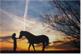 Poster Femme et le cheval