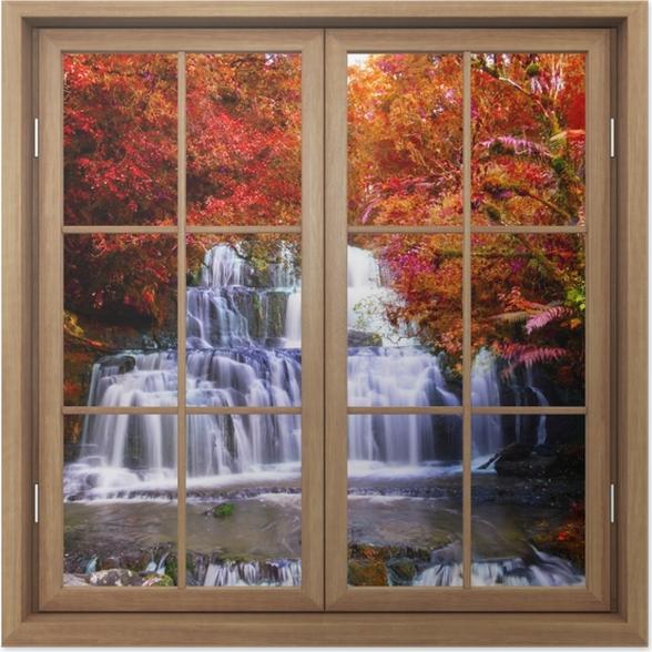 Poster Fenêtre Fermée Brown - Chute D'Eau Dans La Jungle. Nouvelle-Zélande - La vue à travers la fenêtre
