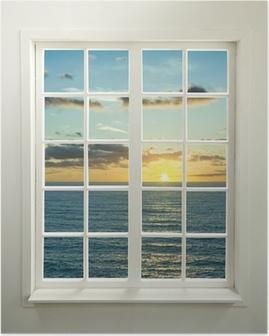 Poster Fenêtre résidentiel moderne avec coucher de soleil sur la mer et les nuages