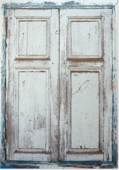 poster fen tres volets en bois vieux ferm par un volet patin pixers nous vivons pour. Black Bedroom Furniture Sets. Home Design Ideas