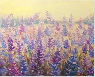 Field of delicate flowers in front of a forest. Lavender. Blue-purple flowers in summer oil painting on canvas. Impasto artwork. Impressionism art. Poster