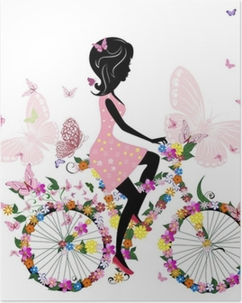 Poster Fille sur un vélo avec un papillons romantiques