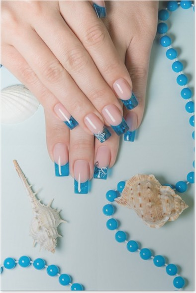 Fingernails With Blue French Manicure On Decorated