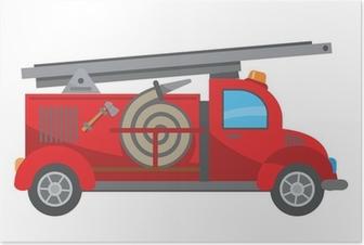 Fire truck cartoon Poster