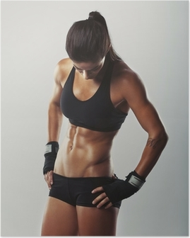 Fitness female resting after workout Poster