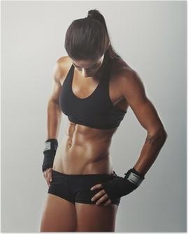 Poster Fitness vrouw die na de training