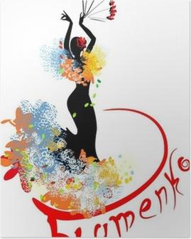 Poster Flamenco danser met fan