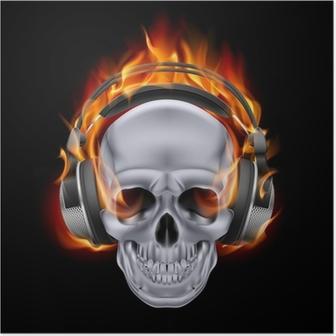Flaming skull in headphones. Poster
