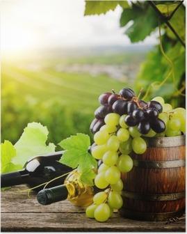 Poster Flessen rode en witte wijn met verse druiven