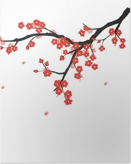 Poster Fleur de prune dans le style de la peinture chinoise