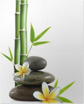 Poster Fleurs de Frangipanier, galets zen et bambou